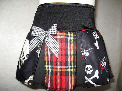 New Girls Black white Red Pirates Tartan vampire Skulls Skirt Alternative Dress