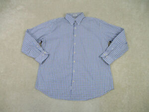 Peter Millar Shirt Adult Extra Large Blue Brown Button Up Long Sleeve Mens B37