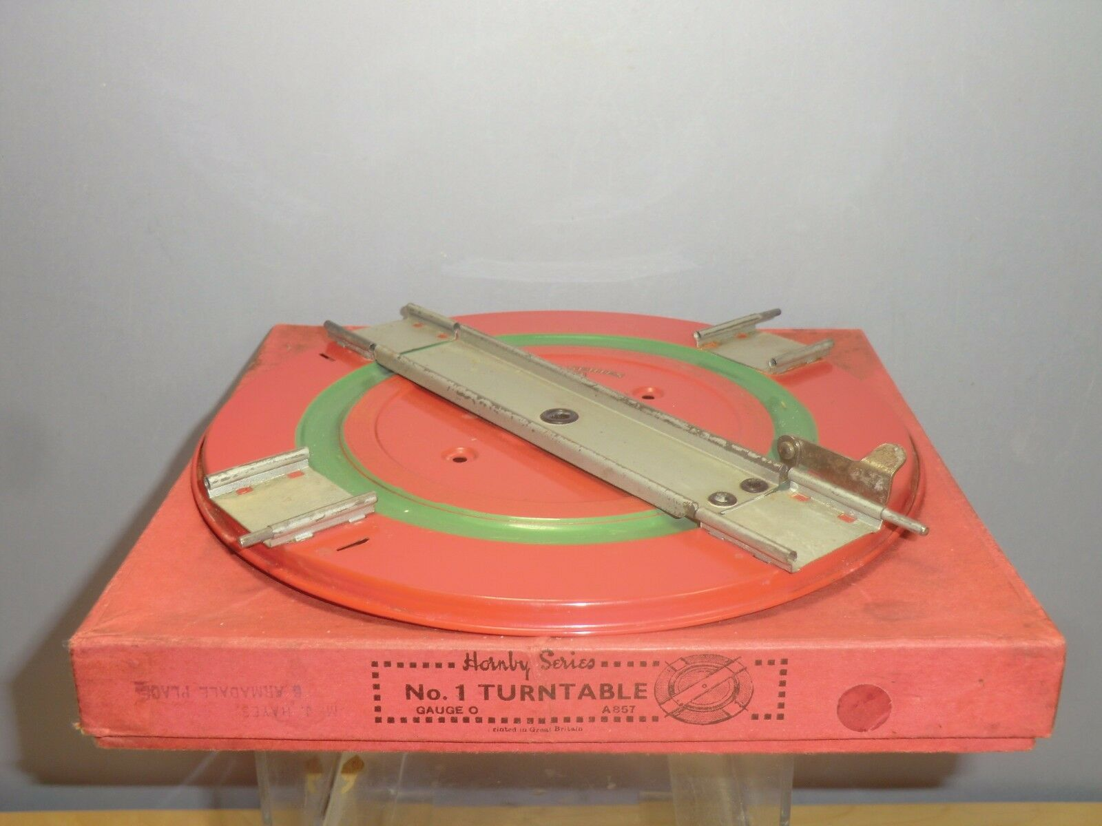 VINTAGE HORNBY  MODEL  0  No.1   SMALL  TURNTABLE   rosso / verde 2nd VERSION  MIB