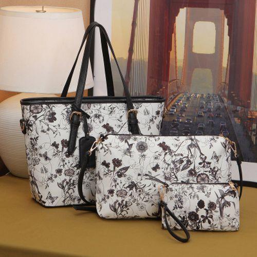 Women/'s Tote Bag Flower Printing Handbags Leather Shoulder Silt Pocket Polyester