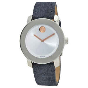 Movado Bold Silver Sunray Dial Blue Suede Ladies Watch 3600446