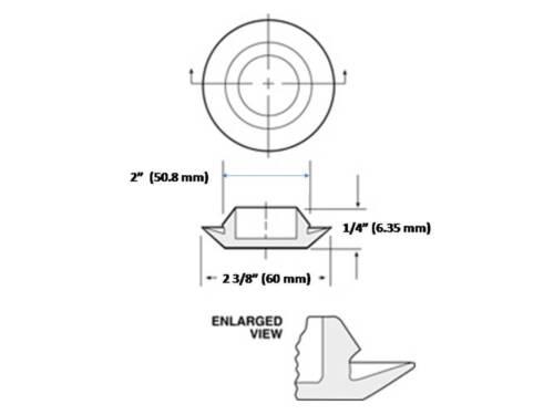"2/"" Flush Mount Black Plastic Body and Sheet Metal Hole Plug      Qty 1 2.0 Inch"