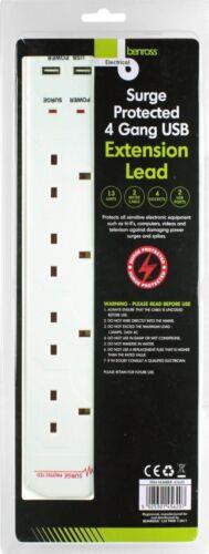 2 M Surge Protect 4 Gang Secteur /& Double USB Prise D/'alimentation Câble d/'extension plomb
