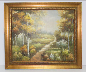 Country Path Landscape Scene 20 x 24 Art Oil Painting Canvas Classic Gold Frame