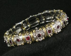 Silver-Gold-Plated-With-Red-Garnet-Swarovski-Crystal-Stretch-Bracelet-Intricate