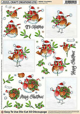 Craft Creations Easy To Use Die-Cut 3D Decoupage Robin on Holly DCD654
