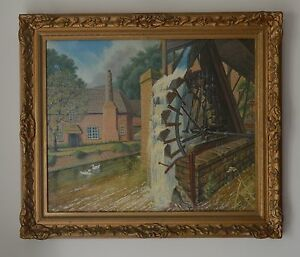 Water-Wheel-by-Canal-at-sticklepath-Devon-Oil-painting-by-A-R-C-A