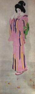 Japanese-Hanging-Scroll-Kakejiku-Hand-Paint-Paper-Kimono-Woman-Antique-B479