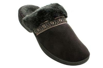 3a3ae6eb9c6f ISOTONER Women's Amelia Microsuede Clog Slippers Black Braid Trim Faux Fur  6.5-7   eBay