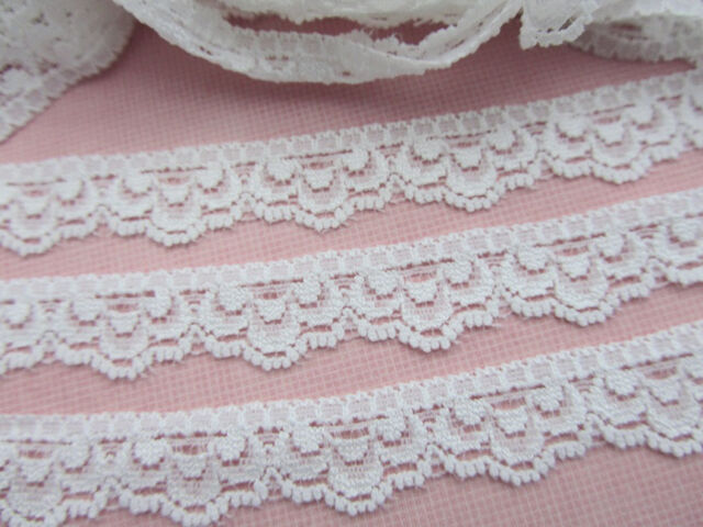 "10 yards Elastic Stretch Floral Soft Lace 1/2"" Spandex/Trim/Sewing/Sew T32-White"