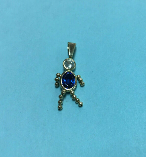 14k Yellow Gold Small Girl Pendant Charm Blue September Created CZ Birthstone
