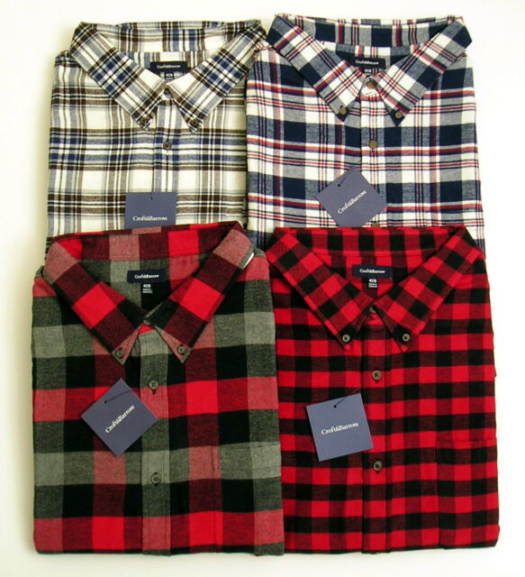 Mens Flannel Shirt Sz 4XB Plaid Check Red/Black Blue/Brown Croft & Barrow NWT