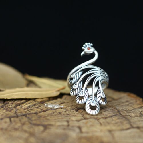 New  S990 Silver Ring Woman/'s Man Unique Fashionable Peacock Lucky Ring