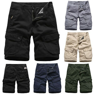 homme solide poches cargo short t d contract pantalon. Black Bedroom Furniture Sets. Home Design Ideas