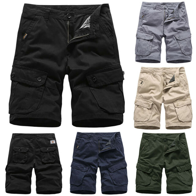 Men Long Cargo Shorts Military Tactical Loose Short Pants Casual Summer Trousers