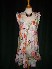 BNWOT Laura Lees for Topshop Small Retro Floral A Line Dress Embroidery Cherries