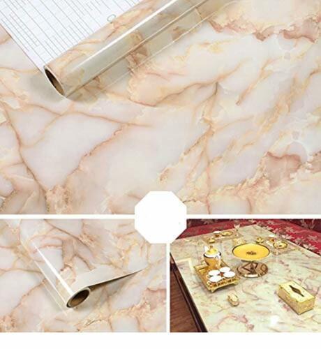 Marbre Auto-Adhésif Peel-Adhésif Papier peint Table Porte Meubles Autocollant amberpink
