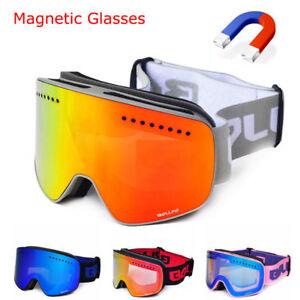 446c055b85f magnetic connection ski goggles UV400 anti-fog ski eyewear mask snow ...