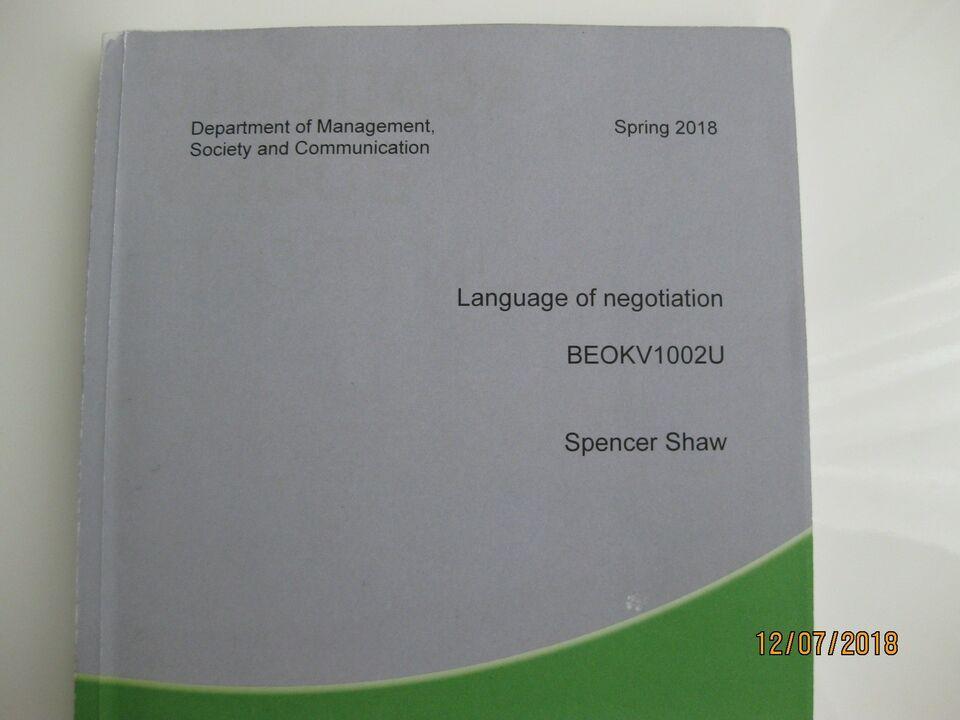 Language of Negotiation, Department of Management,