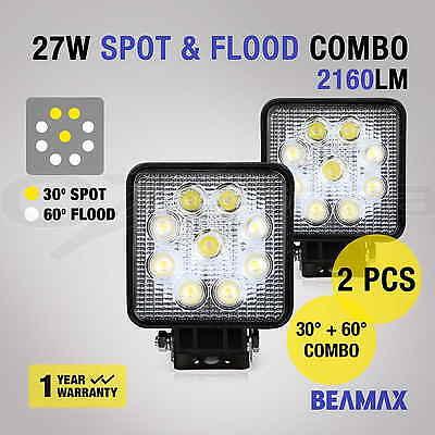 2x 27W  LED WORK LIGHT OFFROAD FLOOD SPOT LAMP TRUCK BAR 12V 24V 4WD 4x4 UTE