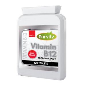 Vitamin-B12-1000mcg-Increase-Energy-120-Tablets-Methylcobalamin-Purvitz-UK