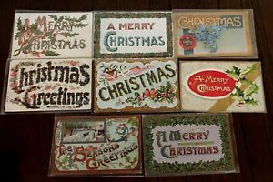 Lot-of-8-LARGE-LETTER-MERRY-CHRISTMAS-Antique-Holiday-Postcards-s409