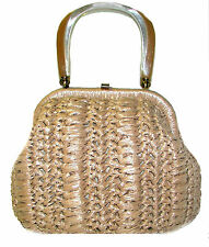 GAYMODE Raffia Beige Lucite Crocheted Handbag Purse made in JAPAN