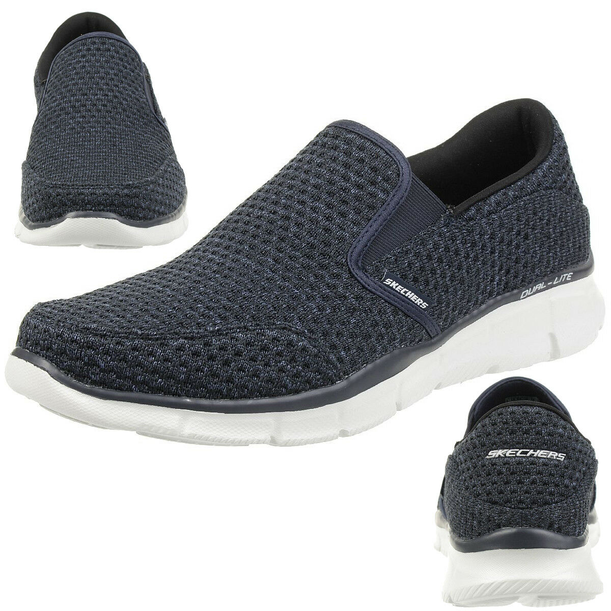 Skechers Equalizer SLICKSTER Herren Slipper Mokassin Slip On blau