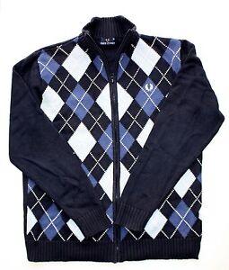 1888b9489a62 Fred Perry Argyle Sweater Jacket Zip-Up Men s Medium Blue Diamond ...