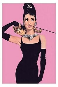 Audrey-Hepburn-POSTER-60x90cm-NEW-black-dress-cat-pink-vintage-look