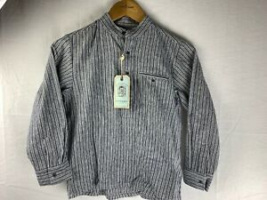 Traditional Irish Grandfather Shirt Blue Stripe Heavyweight High Quality sw1341