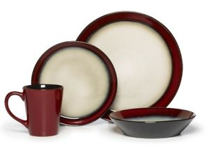 Image is loading Round-Red-48-Piece-Dinnerware-Set-Service-for-  sc 1 st  eBay & Round Red 48 Piece Dinnerware Set Service for 12 Plates Dish Dishes ...