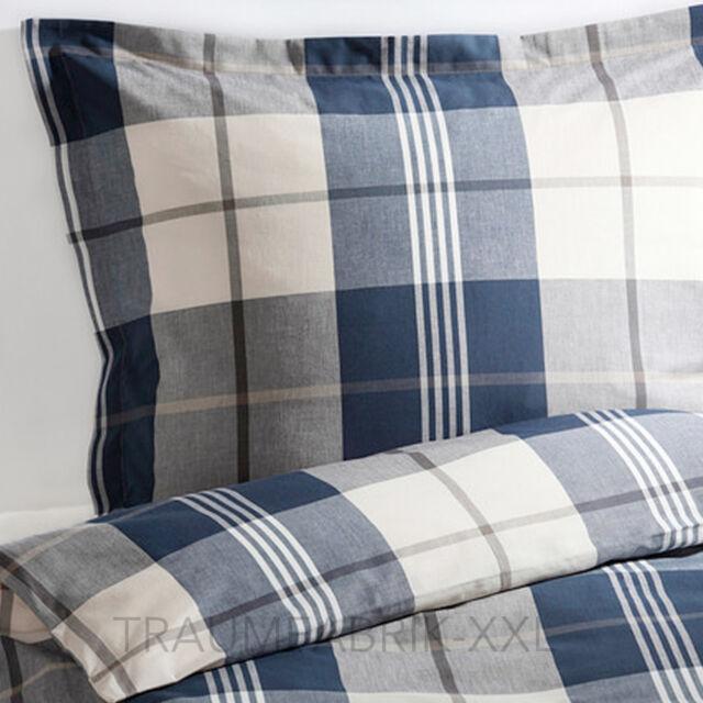 IKEA KUSTRUTA Bettwäsche Bettbezug 140x200 cm Bettwäscheset Karo blau 2-tlg. NEU