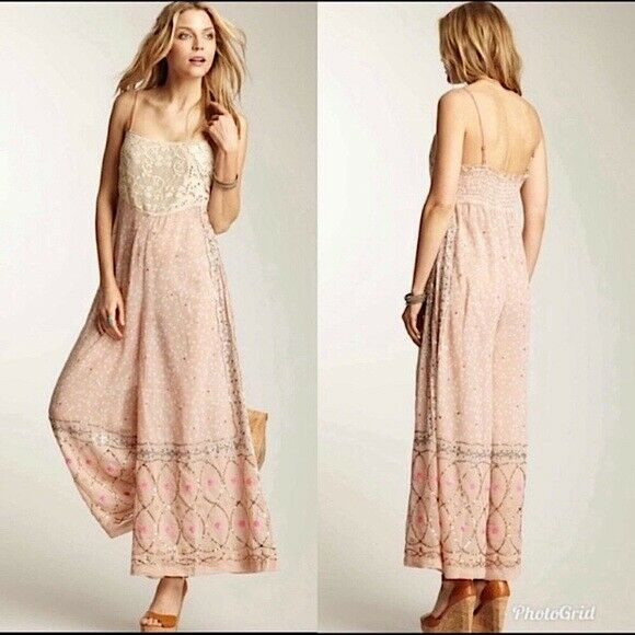 Free people whimsical wide leg jumpsuit fairycore - image 1