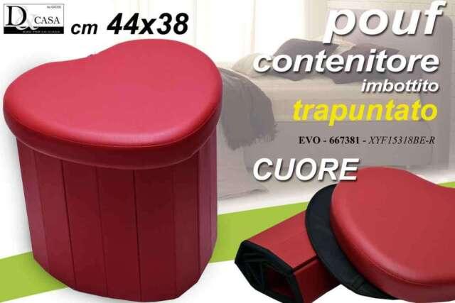 POUF CONTENITORE IMBOTTITO TRAPUNTATO ROSSO CUORE 44X38 CM EVO-667381