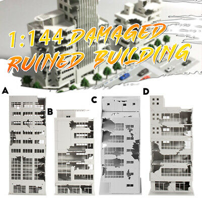 N Scale 1//144 White Ruined Building After War Assembling Model For GUNDAM Scene