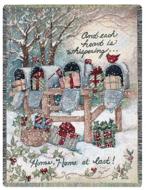 Home At Last ~ Christmas Presents Tapestry Afghan Throw ~ Artist, Susan Winget