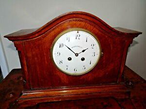Antique-Early-20th-Century-Oak-Walker-amp-Hall-Mantel-Clock-Chime-Key-Pendulum
