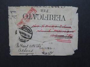 Italie-1916-censure-Couverture-pour-la-grece-arriere-seulement-Z9277