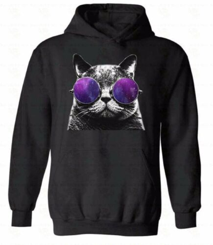CAT Galaxy HOODIE Sweatshirt sweater hooded Astro Space Casual Hipster Glasses