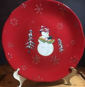 Tracy-Porter-China-Jolly-Ol-039-Snowy-Pattern-Christmas-Dinner-Plate