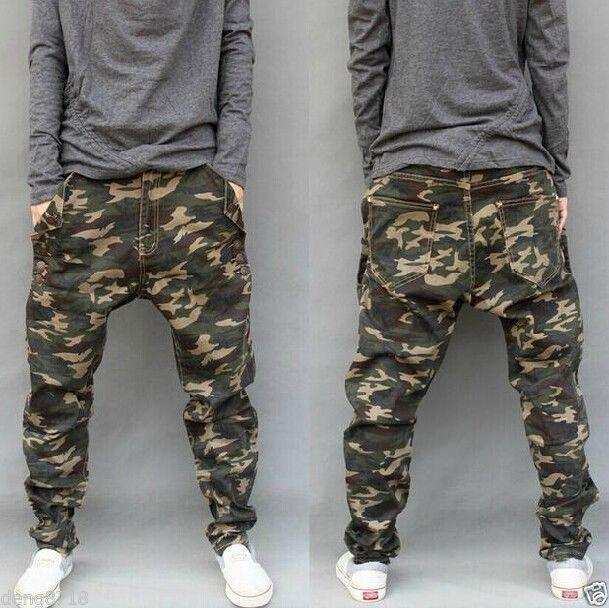 Mens CAMO Casual Harem Trousers Tapered Baggy Pants Drop Credch Camouflage Sz