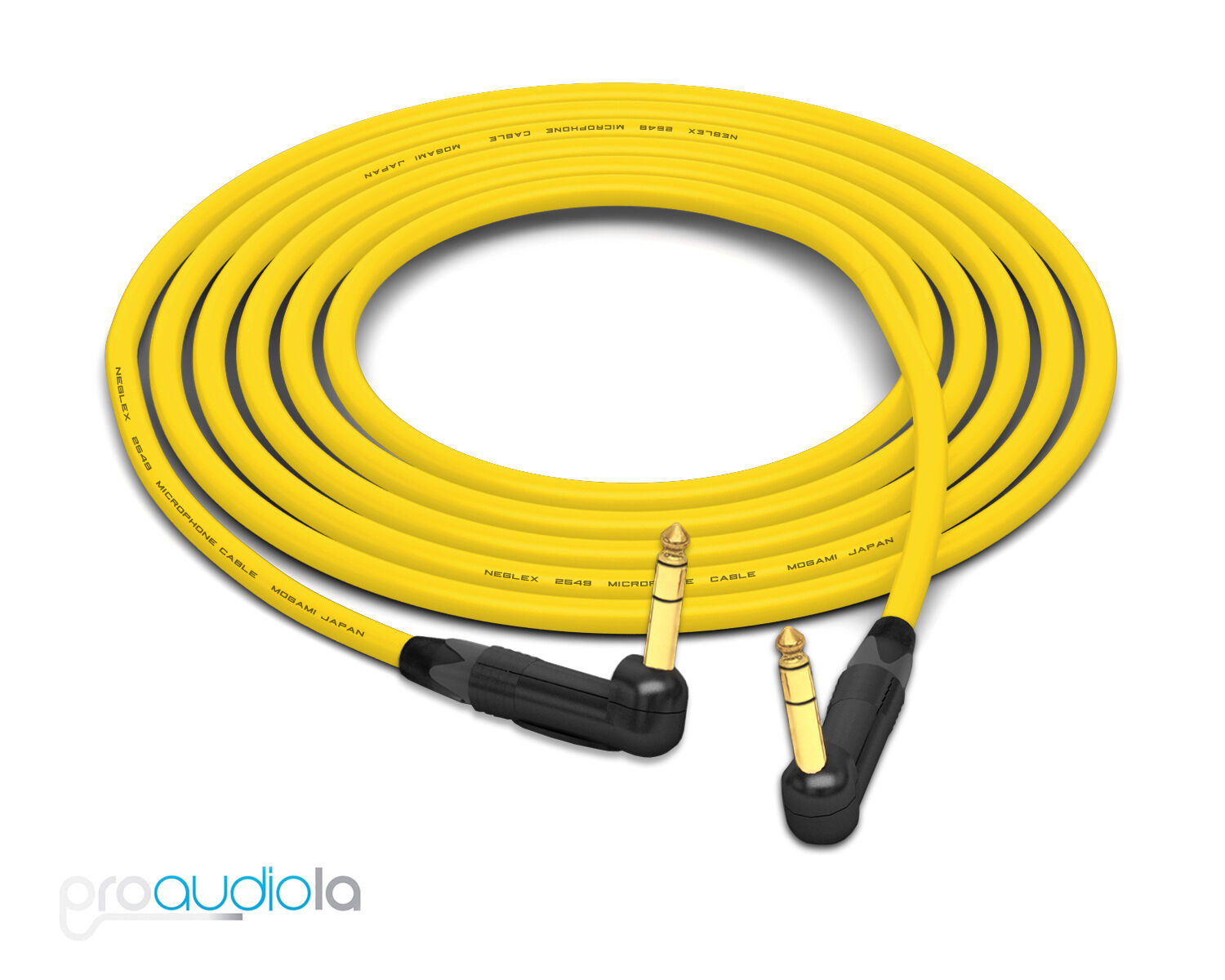 Mogami 2549 Cable   Neutrik gold 90º Right-Angle 1 4  TRS   Yellow 10 Feet 10'