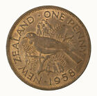 New Zealand 1958 Penny Coin UNC