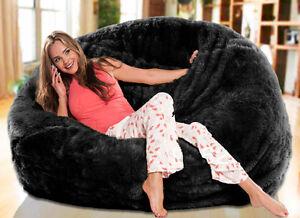 Image Is Loading Large 140cmD Luxe Black Faux Fur Plush Beanbag