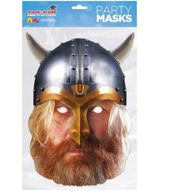 Vichingo con Casco Storico Singolo 2D Card Party Face Mask Costume