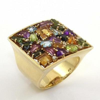 14K Yellow Gold Multi Color Gemstone Natural Diamond Cluster Cocktail Ring Sz 7