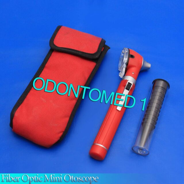 Fiber Optic Mini Otoscope Red Color (Diagnostic Set)