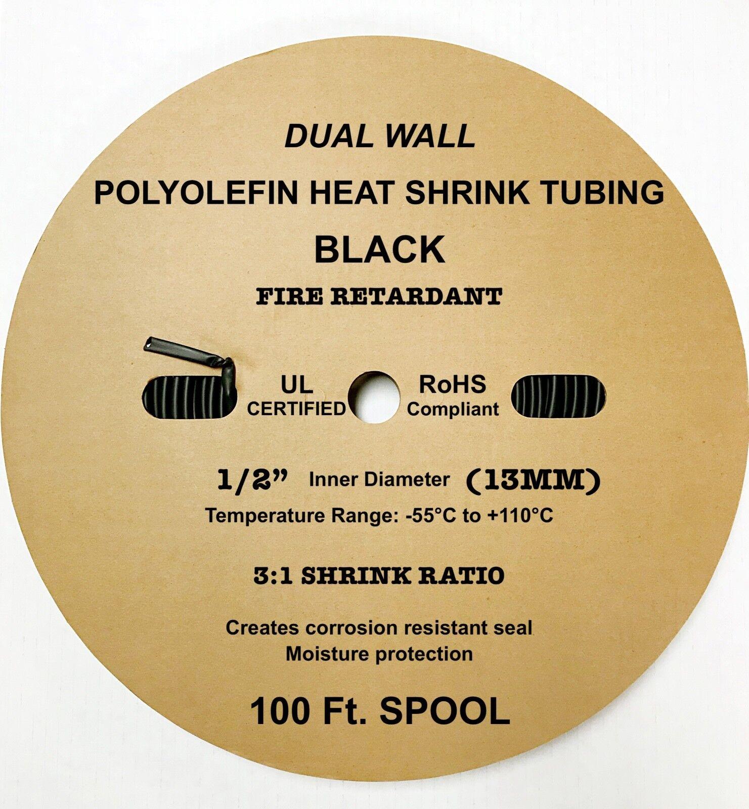 "BLACK 3//16/"" 5mm Dual-Wall Adhesive 3:1 Ratio Heat Shrink Tubing M23053//4 200 Ft"