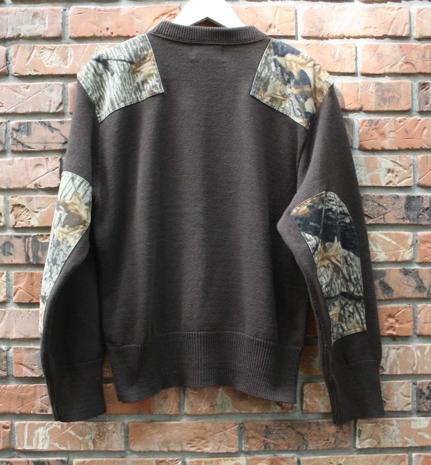 Vintage Northwest Territory Sweater W  Camo Shoulder and Elbow Accents Men's M